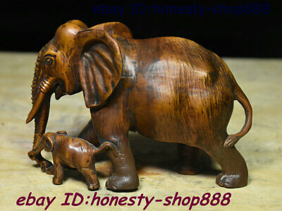 Collect China Natural Boxwood Wood Hand-Carving Animal Elephant Heffalump Statue