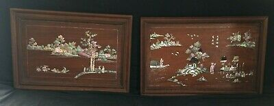 Antique chinese two important panel mother of pearl and wood