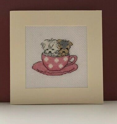 Completed Cross Stitch Puppies In A Tea Cup Card 5.5x5.5inch.