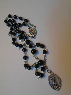 St Michael CHAPLET Angelic Crown ROSARY BLACK onyx glass Beads Medals ITALY