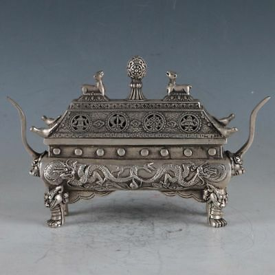 Collection old Tibetan silver Censer handwork carved Dragon incense burner