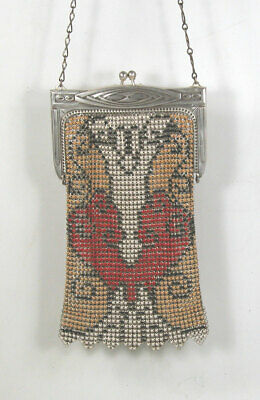 1920s Antique Flapper Whiting & Davis Art Deco Enamel Mesh Purse Bag Handbag