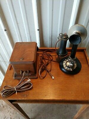 Vintage Stromberg / Carlson  Candlestick Rotary Phone W/ Ringer Box