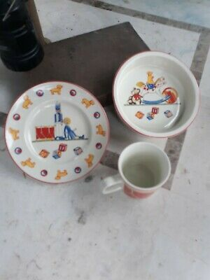 Tiffany & Co Masons England Tiffany Toys Baby Child 3 Pc Set Plate Bowl Mug Cup
