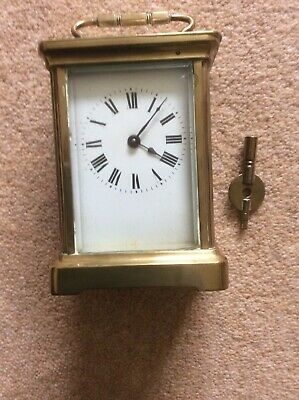 ANTIQUE or VINTAGE FRENCH  BRASS CARRIAGE CLOCK