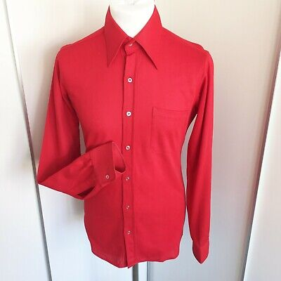 """1960s 1970s Vintage Simpson of Piccadilly Red Dagger Collar Shirt Size 15"""" S Mod"""
