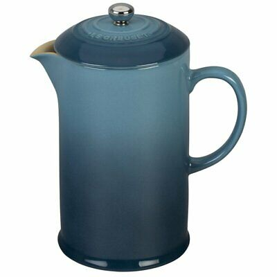 New Le Creuset Stoneware French Press Coffee Maker 27 Ounce MINERAL BLUE RARE