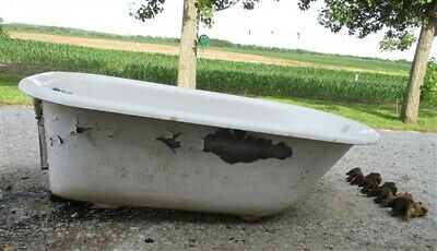 "4'8"" Porcelain Claw Foot Bath Tub Vintage Art Deco Nouveau Victorian Cast Iron a"