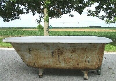 5' Porcelain Claw Foot Bath Tub Vintage Art Deco Nouveau Victorian Cast Iron s,