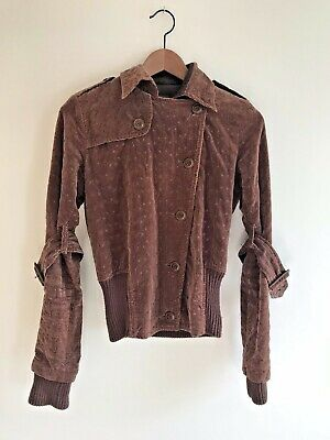 Vintage Velvet Embroidered Jacket Brown Details Galore Size Small Great Coat