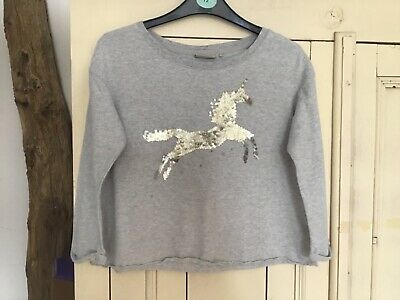 Girls Grey Cropped Sweatshirt with Sequin Unicorn by Next, Age 7