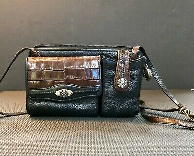 Brighton small crossbody/black leather with brown croc trim/excellent condition!