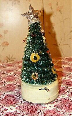 Vintage 50's Chenille Lighted Blinking Christmas Tree * AMICO * WORKS