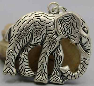 Collectable China Miao Silver Carving Elephant Exorcism Bring Good Luck Pendant