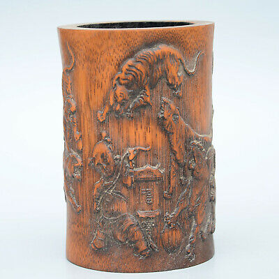 Collectable China Boxwood Handwork Carving Children Tiger Unique Noble Brush Pot