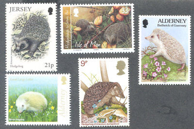 Hedgehogs 5 different mnh Great Britain & Islands