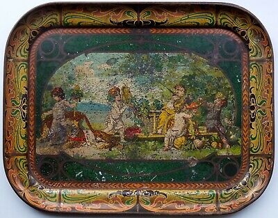 Art Nouveau Imperial Russia Antique Tin Tray 1890-1900's