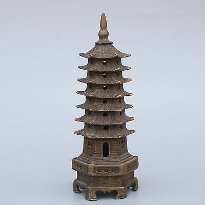 Collectable China Antique Copper Handwork Carving Tower Vivid Unique Rare Statue