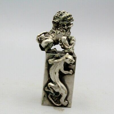 Collection China Tibet Silver Handwork Carving Lion Bring Good Luck Seal Statue
