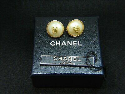 Authentic CHANEL Vintage Gold Tone Faux Pearl CC Logo Clip On Earrings