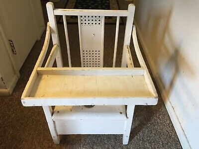 Vintage Antique Wooden, Enamel, and Punched Metal Child's Potty Chair Commode