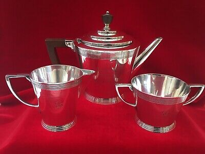 Rare Keith Murray for Mappin & Webb Tea Set w/ Tea Pot, Milk Jug + Sugar Bowl