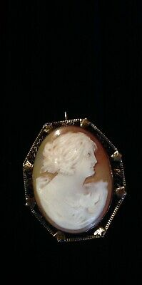ANTIQUE VICTORIAN Edwardian SILVER FILIGREE SHELL CAMEO BROOCH PENDANT Svr17
