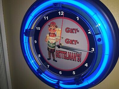Gettelman's Beer Bar Man Cave Advertising Blue Neon Wall Clock Sign