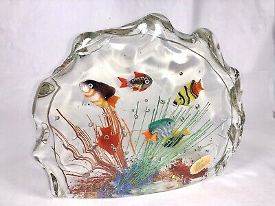 Gorgeous MURANO Fish AQUARIUM Art Glass Paperweight SCULPTURE With Sticker Read!