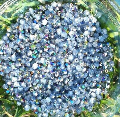 100 Pcs Faceted 4mm Czech Glass Fire Polished Beads - LIGHT SAPPHIRE AB