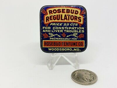 Vintage Rosebud Regulators Sample Tin Medicine Liver Blood Antique Advertising