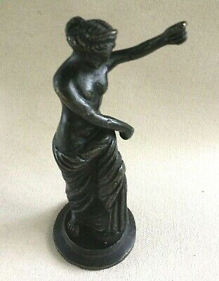 Vintage Antique Bronze Brass Sculpture Figurine Nude Woman Holding Staff Missing