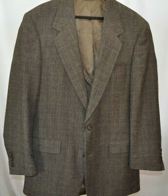 Evan Picone  Mens Wool Sport Coat Gray/Olive Glen Plaid Size 42L Made in USA