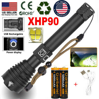 990000LM XHP90 XHP70XHP50 Super Bright LED Rechargeable 18650 Zoom Flashlight