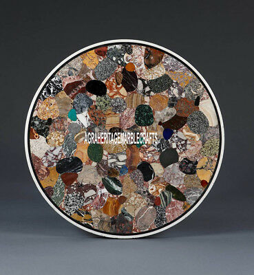 Marble Coffee Table Top Beautiful Multi Stone Mosaic Inlay Outdoor Decor H3908