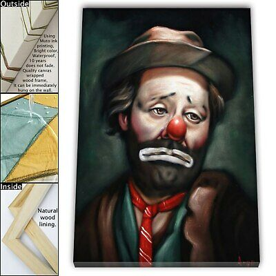"16""x22"" Emmett Kelly Hobo Clown Paint HD Canvas print Framed Home decor Wall art"