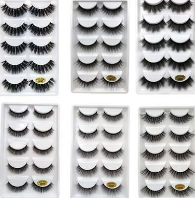 Wholesale 5 Pairs Handmade  Mink 3D False Eyelashes Cross Thick Long Lashes