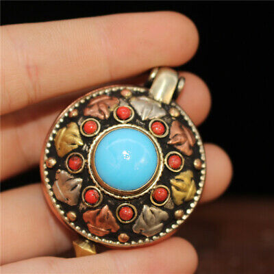 """1.97""""Exquisite Chinese pure copper  inlay Turquoise Handmade box Pendant"""