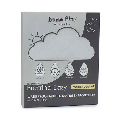 Bubba Blue Breathe Easy 72cm Waterproof Cotton Mattress Protector Moses Basket