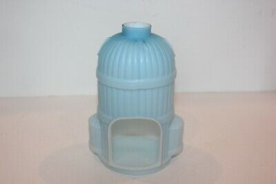 Antique Victorian Blue Satin Glass Fairy Lamp Lighthouse