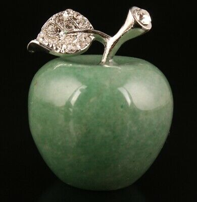 Retro Chinese Natural Jade Statue Apple Mascot Decorated Gift Old