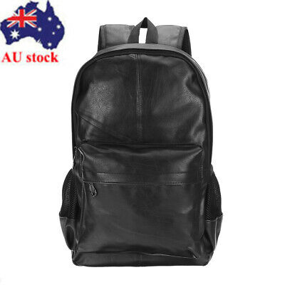 AU Men Women PU Leather School Backpack Bookbag College Shoulder Bag Rucksuck