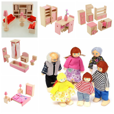 Wooden Doll House Dollhouse Furniture Miniature 5 Rooms Set & 6 Person Xmas Gift