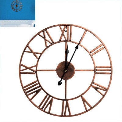 Bronze Wall Clock Large Antique Classic Metal Skeleton Numeral 40cm Open Face