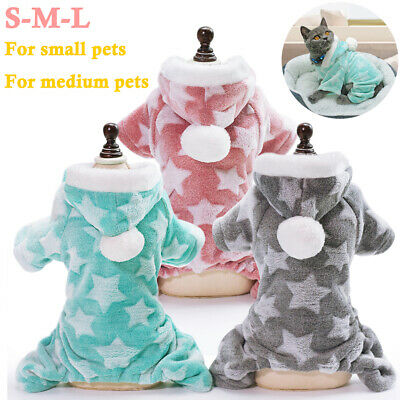 UK Pets Dogs Coats Clothes Puppy Cats Warm Star Hooded Pyjamas Jackets Jumpsuits