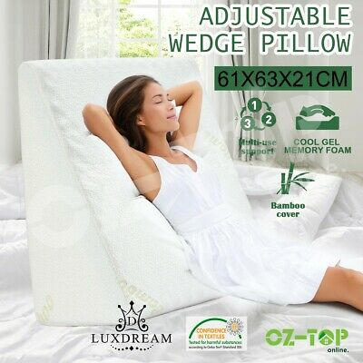 Back Neck Wedge Pillow Cushion Cool Gel Memory Foam Body Bed Sleeping Support