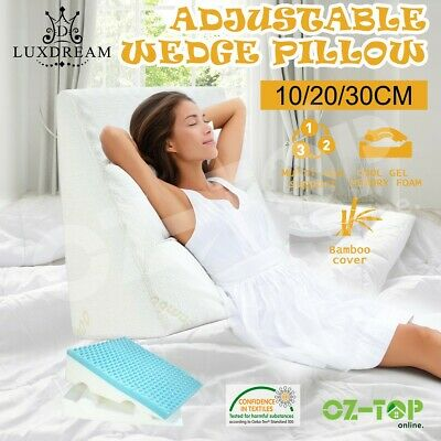 Cool Gel Memory Foam Adjustable Wedge Pillow Back Neck Bed Support Sleep Cushion