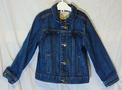 Girls TU Dark Blue Ruffles Heart Buttons Jean Denim Jacket Age 2-3 Years