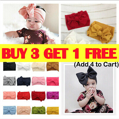 Baby Girl Infant Toddler Bow Hairband Headband Turban Big Knot Head Wrap Soft R