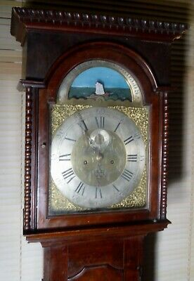 "Antique Mahogany "" No  Shields  "" R/ Ship  Dial Longcase / Grandfather Clock"
